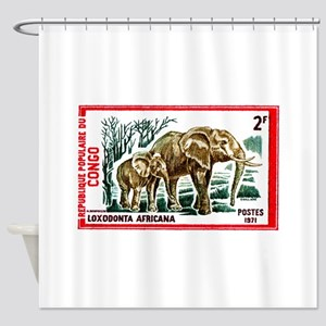 Vintage 1971 Congo Elephants Postage Stamp Shower
