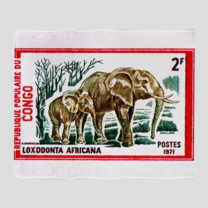 Vintage 1971 Congo Elephants Postage Stamp Throw B