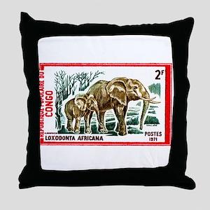 Vintage 1971 Congo Elephants Postage Stamp Throw P