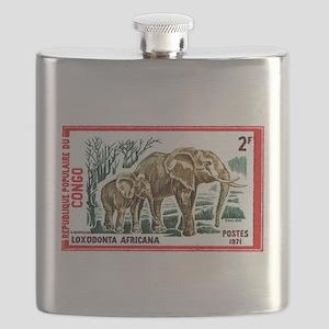 Vintage 1971 Congo Elephants Postage Stamp Flask