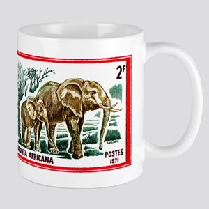 Vintage 1971 Congo Elephants Postage Stamp Mugs