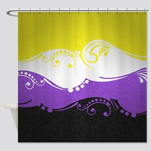Non-Binary Ornamental Flag Shower Curtain