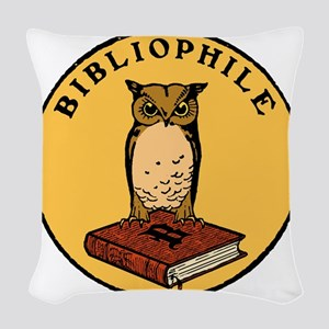 Bibliophile Seal (w/ text) dar Woven Throw Pillow