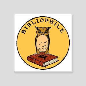 """Bibliophile Seal (w/ text)  Square Sticker 3"""" x 3"""""""