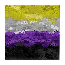 Non-Binary Paint Splatter Flag Tile Coaster