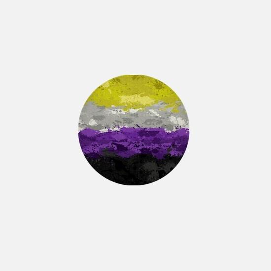 Non-Binary Paint Splatter Flag Mini Button