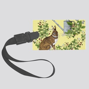 Bunny in the berry patch copy Large Luggage Tag