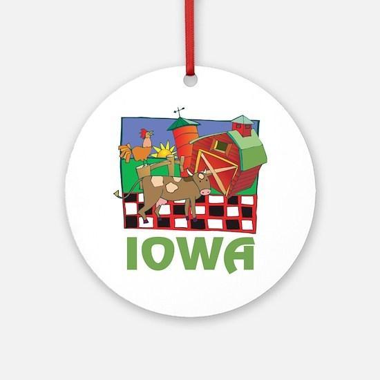Iowa Farm Round Ornament