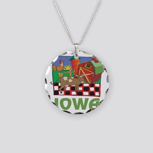 Iowa Farm Necklace Circle Charm
