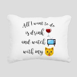 Drink Wine Cat Emoji Rectangular Canvas Pillow