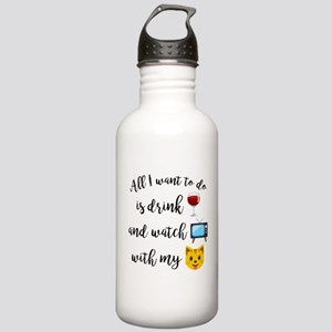 Drink Wine Cat Emoji Stainless Water Bottle 1.0L