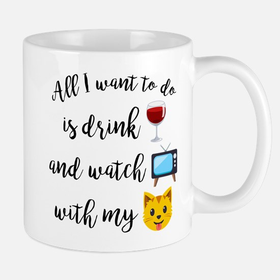 Drink Wine Cat Emoji Mug