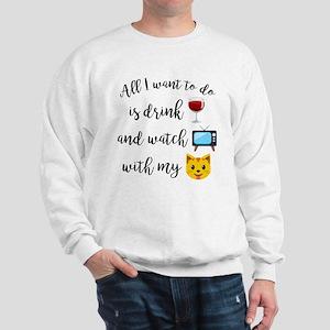 Drink Wine Cat Emoji Sweatshirt