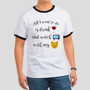 Drink Wine Cat Emoji Ringer T