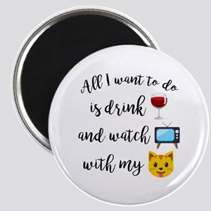 Drink Wine Cat Emoji Magnet