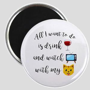Drink Wine Cat Emoji Magnet
