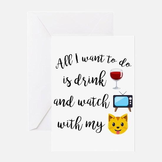 Drink Wine Cat Emoji Greeting Card