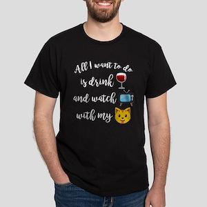 Drink Wine Cat Emoji Dark T-Shirt