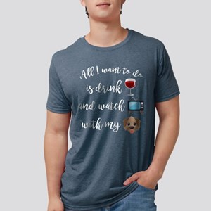Drink Wine Dog Emoji Mens Tri-blend T-Shirt