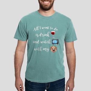 Drink Wine Dog Emoji Mens Comfort Colors Shirt