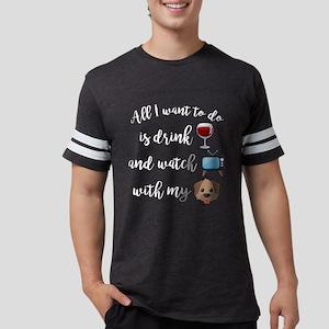Drink Wine Dog Emoji Mens Football Shirt