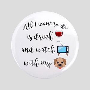 """Drink Wine Dog Emoji 3.5"""" Button"""