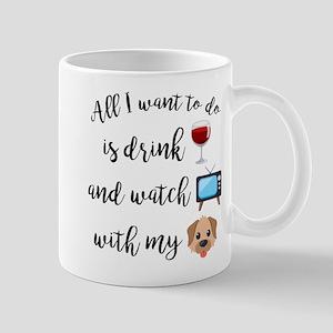 Drink Wine Dog Emoji 11 oz Ceramic Mug