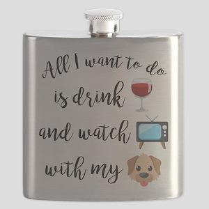 Drink Wine Dog Emoji Flask
