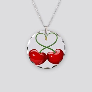 Cherry Love Necklace Circle Charm