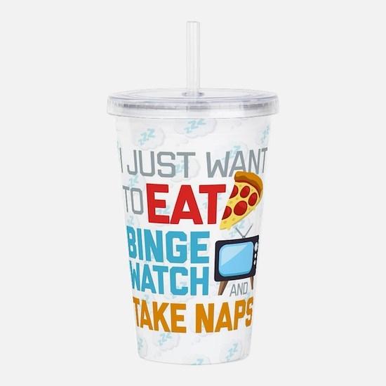 Pizza Binge Naps Emoji Acrylic Double-wall Tumbler