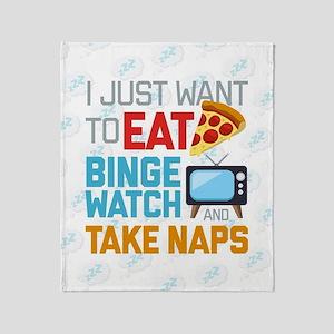 Pizza Binge Naps Emoji Throw Blanket