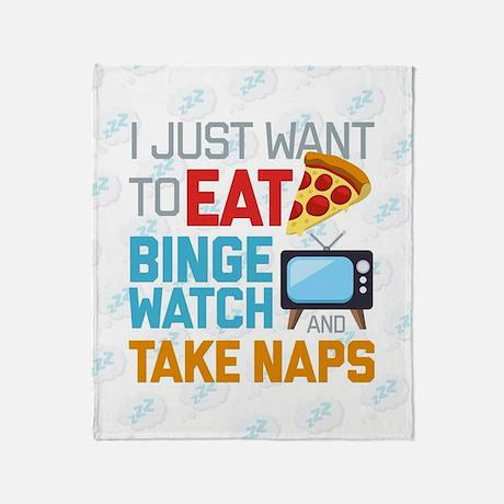 Emoji Pizza Binge Naps  Throw Blanket