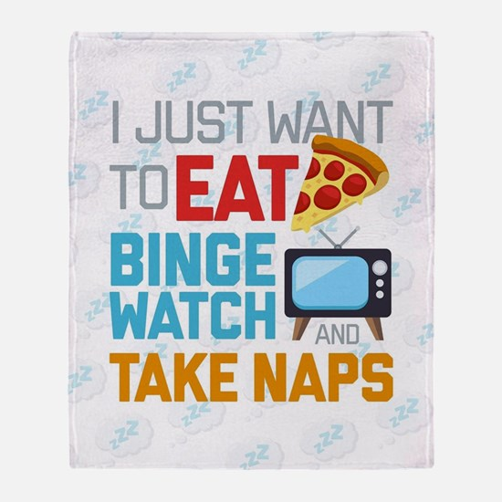 Pizza Binge Naps Emoji Throw Blanket