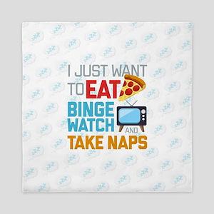 Pizza Binge Naps Emoji Queen Duvet