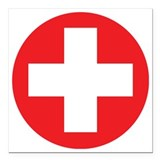 Red cross Square Car Magnets