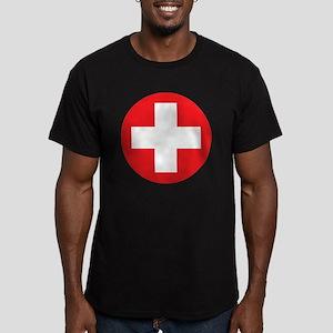 red cross Men's Fitted T-Shirt (dark)
