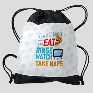 Pizza Binge Naps Emoji Drawstring Bag