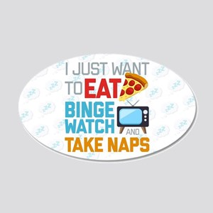 Pizza Binge Naps Emoji 20x12 Oval Wall Decal