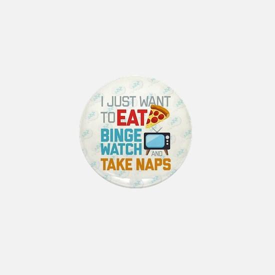Pizza Binge Naps Emoji Mini Button