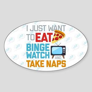 Pizza Binge Naps Emoji Sticker (Oval)