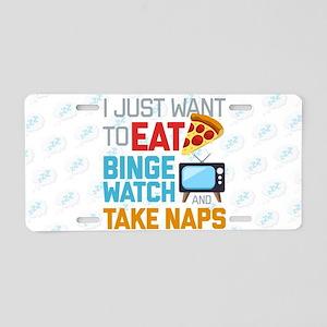 Pizza Binge Naps Emoji Aluminum License Plate