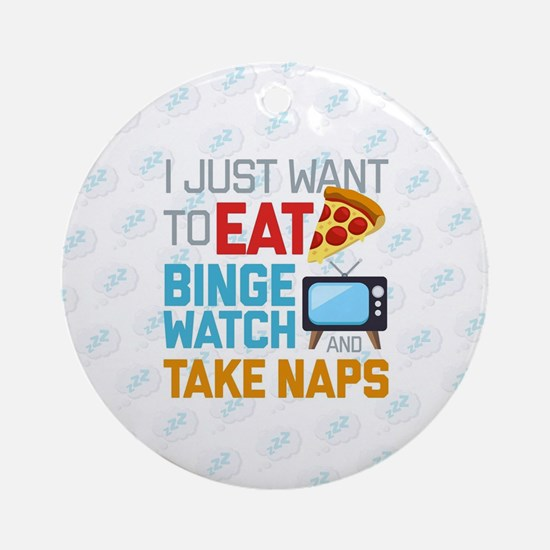 Pizza Binge Naps Emoji Round Ornament