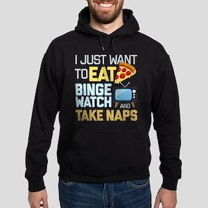 Pizza Binge Naps Emoji Hoodie (dark)
