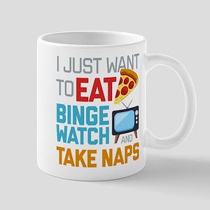 Pizza Binge Naps Emoji 11 oz Ceramic Mug