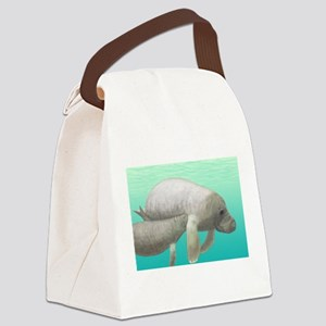 Manatee and Calf Canvas Lunch Bag