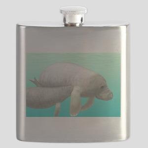 Manatee and Calf Flask