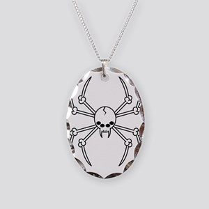 spider skull Necklace Oval Charm