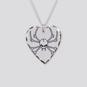 spider skull Necklace Heart Charm