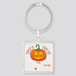 halloween1-talk-onblk Square Keychain