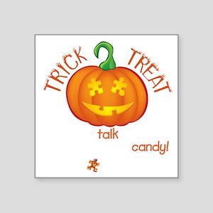 "halloween1-talk-onblk Square Sticker 3"" x 3"""